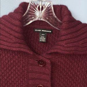 Club Monaco Burgundy Wool Blend Cardigan XS